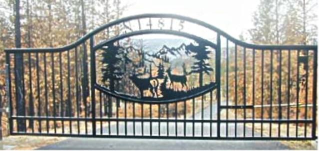 Automatic Single Swing Drive Gates Ornamental Iron Spokane