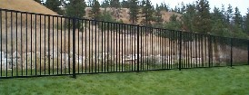 Perimeter Yard Fence With Solid Steel Powder Coated Pickets, Rails and Posts